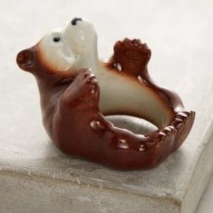 "Anthropologie ""And Mary"" Ceramic Bear Ring"